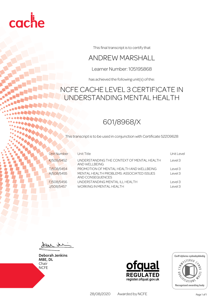 NCFE CACHE Level 3 Certificate in Understanding Mental Health